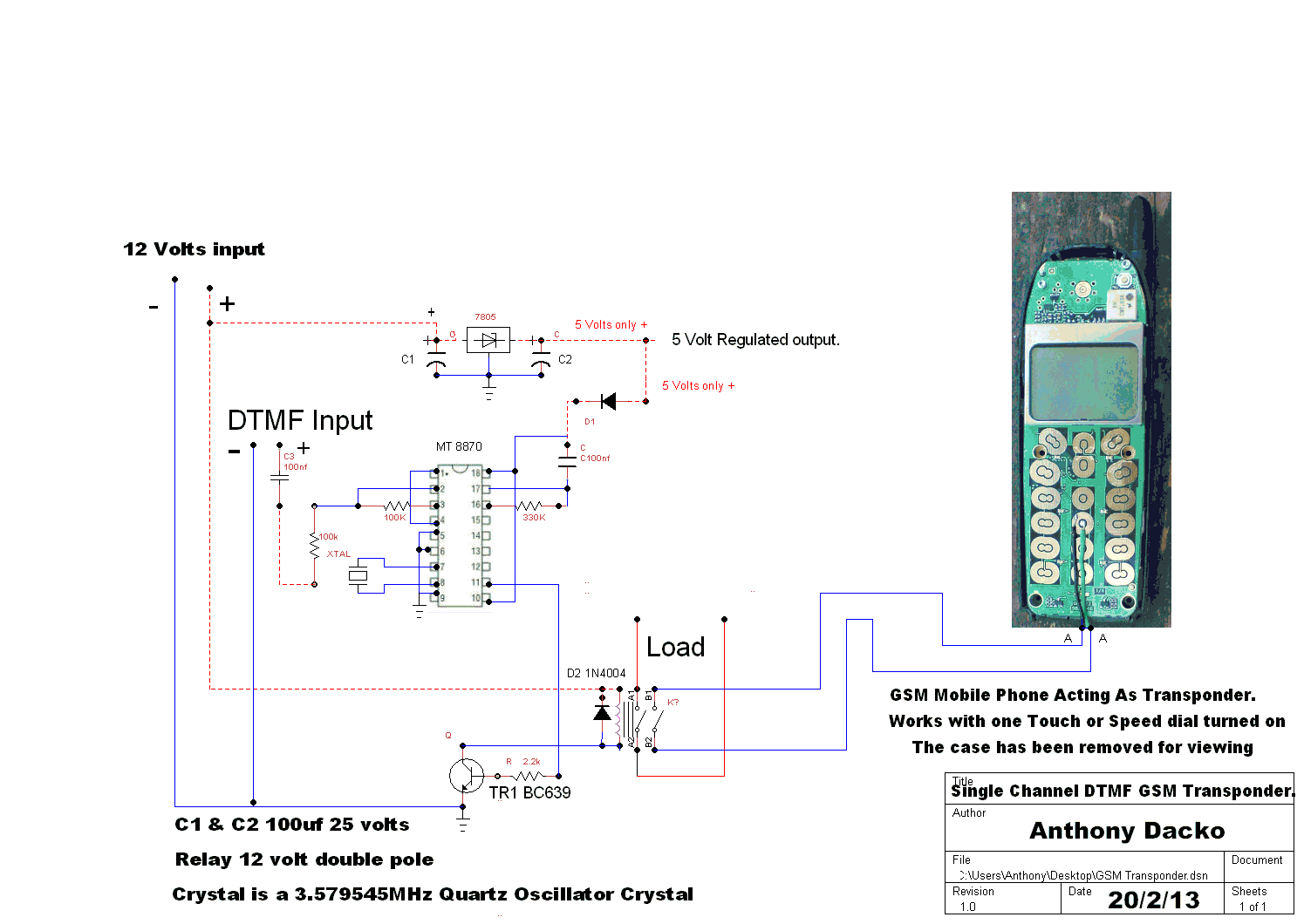 Welcome to this simple dtmf notification by cell phone schematic here is the schematic on how to connect your circuit to the cell phone below pooptronica